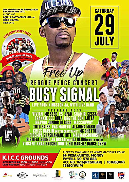Busy-Flyer Busy Signal Geared Up For Free Up Peace Reggae Concert In Nairobi Kenya